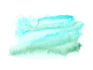 Printed roller blinds Fantasy Landscape Abstract sky blue and green color splatter painted in watercolor on white isolated background