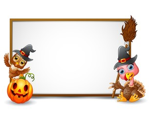 Halloween sign with witch hat, owl, turkey, and pumpkin