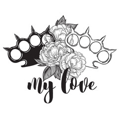 brass knuckles in roses. Old school tatoo style with weapon. vector illustration. the inscription can be replaced