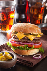 double cheese burger with jalapeno tomato onion
