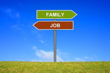 Schild Wegweiser: Job oder Familie