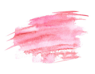 Pink freehand brush strokes painted in watercolor on white isolated background