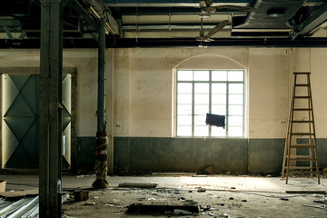 Destroyed interior of factory