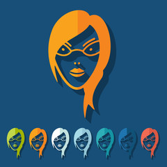 Flat design: face girl