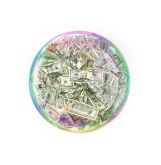 Fraud concept. Soap bubble full of money of different value. 3d