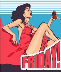 Woman drinks shot vodka retro styled vector image