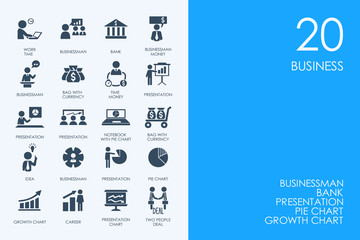 Set of BLUE HAMSTER Library business icons