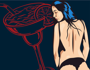 Woman undressing vector pic