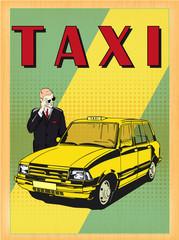 Taxi cab car vector image vintage style