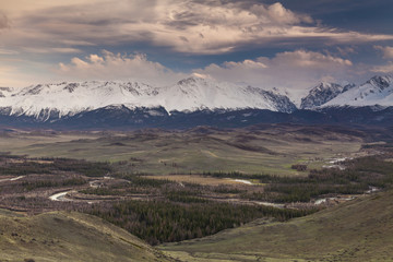 Majestic views of the beautiful mountains of Altai.