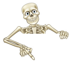 Cartoon Skeleton Pointing at Sign