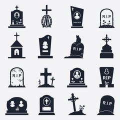 Grave icons set. Vector illustration.