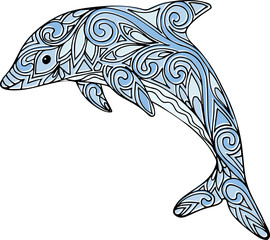 Hand drawn colorful doodle dolphin illustration