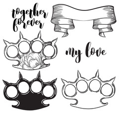 set of brass knuckles. Old school tattoo style with weapon. vector illustration.
