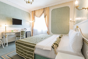 Interior of luxury double bed hotel room