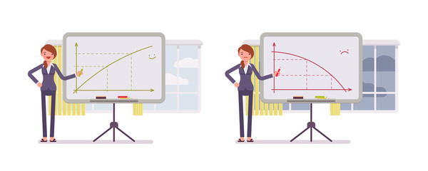 Set of two business scenes. A woman points to positive and negative charts on the whiteboard. Cartoon vector flat-style concept illustration