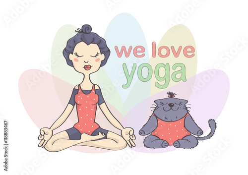 Cute Funny Vector Drawing Of Girl And Her Cat Doing Yoga