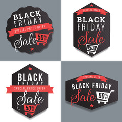 Set of badges, banner, labels for black Friday sale and discount template. Design elements. Vector illustration
