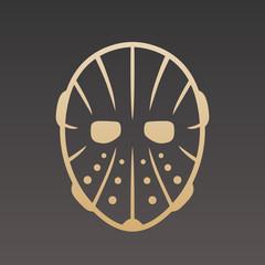 Hockey mask, gold on dark