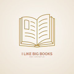 I like big books poster. Modern vector line icon of reading. Library linear logo. Outline symbol for encyclopedia, vocabulary. Design element for site, bookstore, club. Education logotype, open book.