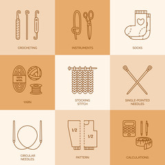Modern vector line icons set of knitting and crochet. Linear design elements: socks, knitting needle, knitting hook, pattern and others. Outline knitting symbol collection for business cards, stores.