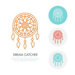 Dream catcher illustration. Modern line icon of dreamcatcher. Indian tribal linear logo. Outline symbol for sleep problem, healthy sleep. Design element for site, brochure, book. Nightmare protection.