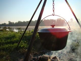 food in a cauldron