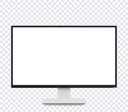 monitor vector mockup, modern realistic display with wide blank screen