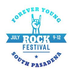 rock festival poster design, blue on white