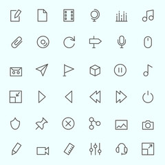 Media icons, simple and thin line design