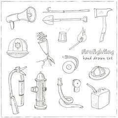 Doodle fire fighting tools set Vintage illustration