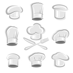 chef hats set. Vector