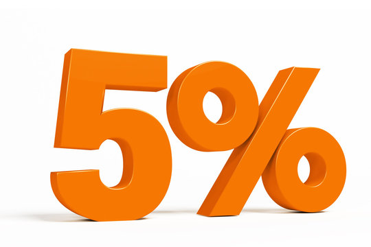Orange 3d 5 % percent text on white background for autumn sale campaigns. See whole set for other numbers.