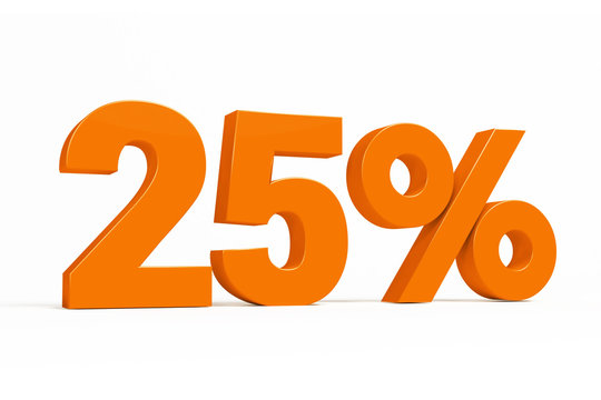 Orange 3d 25 % percent text on white background for autumn sale campaigns. See whole set for other numbers.