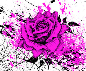 stylish purple rose with splashes of ink and texture cracks, leaves, hand drawn, vector illustration, artistic background with flower