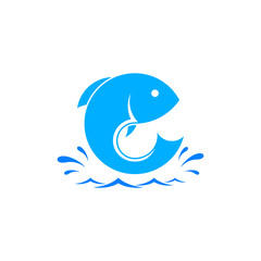 Fish logo template. Creative vector template of fishing club logo or fishing online shop. Icon of fish with place for text.