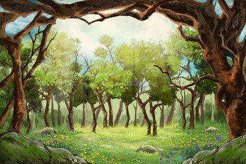 A Small Flower Field inside the Clearing of Forest. Video Game's Digital CG Artwork, Concept Illustration, Realistic Cartoon Style Background