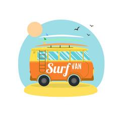 Surf Van on the Beach. Flat Design. Vector