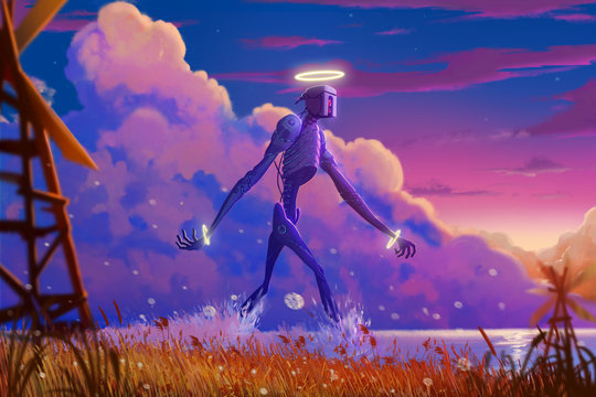 The Giant Mystery Robot Walking on the River. Video Game's Digital CG Artwork, Concept Illustration, Realistic Cartoon Style Background