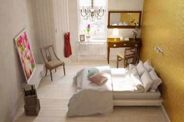 Schlafzimmer von oben mit Doppelbett
