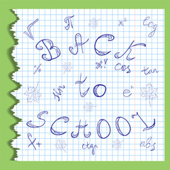 Back to School. Hand Drawn Letters, Mathematics Symbols and Maple Leaves.Scribbles on the Rippled Sheet of Copybook in a Cage. Doodle Style. Vector illustration.