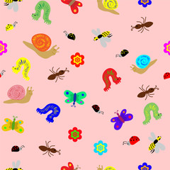 Seamless  Child Drawing Pattern.  Funny Doodle Insects, snails and caterpillar. Perfect Design for Children. Vector Illustration.