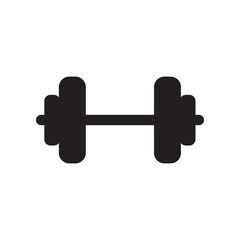 flat icon in black and white style barbell sport