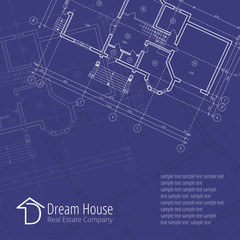 Architectural vector background. Building plan silhouette on blue background and D dream house real estate company logo, architecture and design company logo