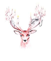 Watercolor surreal painting of a deer