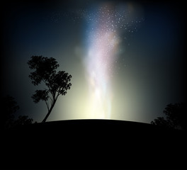 Galaxy at night vector nature landscape background