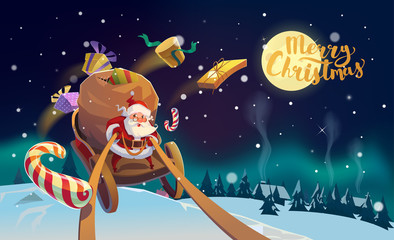 Christmas Card. Santa with the bunch of presents riding on a sleigh at the winter forest. Polar Lights at the background. Merry Christmas Lettering. Vector illustration.