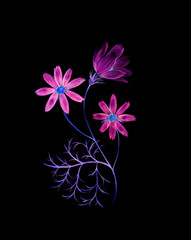 Neon watercolor painting of a cosmos flowers