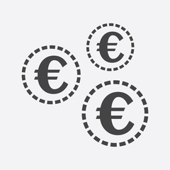 Euro coins icon. Vector illustration in flat style. Black coin on white background.