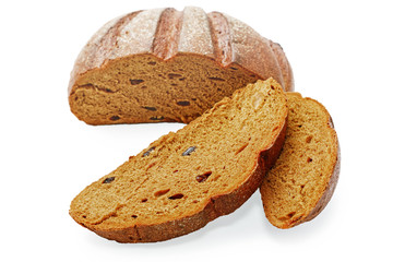 Pieces of rye bread isolated on a white background